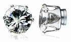 5MM Pair of Round Cut Clear Cubic Zirconia Magnetic Earrings