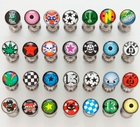 Tongue Body Jewelry - 6 Pack Of  Stainless Steel Logo Tongue Rings (Assorted Designs)