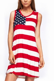 All Over American Flag Patriotic Tunic Dress