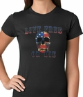 American Flag Skull - Live Free or Die Ladies T-shirt