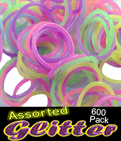 Assorted Glitter Bands Refill (600 Pack)