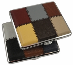 Assorted Leather Squares Patchwork Cigarette Case (Regular Size)