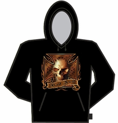 Bad Ass Flaming Skull and Cross Hoodie