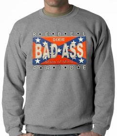 Bad Ass Rebel Pride Confederate Flag Adult Crewneck
