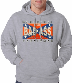 Bad Ass Rebel Pride Confederate Flag Adult Hoodie