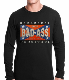 Bad Ass Rebel Pride Confederate Flag Thermal Shirt