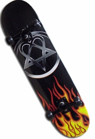 Bam/Him Flaming Heartagram Skateboard