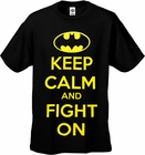 Batman Keep Calm and Fight On Men's T-Shirt (Black)