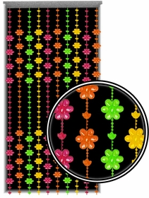 Beaded Curtains - Black Light Reactive Neon Groovy Flowers Door Beads