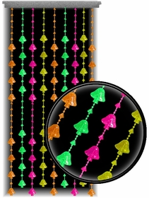 Beaded Curtains - Black Light Reactive Neon Mushrooms Door Beads