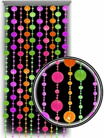 Beaded Curtains - Black Light Reactive Neon Polka Dots Door Beads