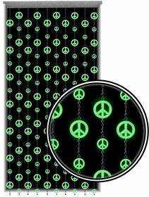 Beaded Curtains - Glow in the Dark and Blacklight Peace Sign Door Beads