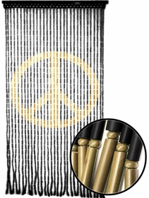 Beaded Curtains - Peace Sign Wooden Door Beads