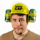 Beer Helmet - Thinking Cap Double Beer Can  Hat