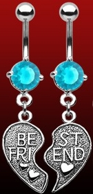Navel Body Jewelry - Best Friends Charm Navel Jewelry (Pair Sky Blue)