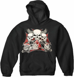 "Biker Hoodie - ""Flying Skulls of Death"" Motorcycle Sweatshirt (Black)"