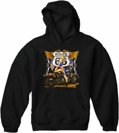 "Biker SweatShirts - ""Route 66 Pin Up"" Biker Hoodie"