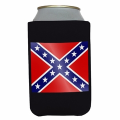 Black Confederate Rebel Flag Drink Koozie
