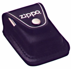 Black Leather Zippo Pouch