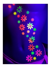 Black Light Reactive Body Stickers - Daisy Flowers