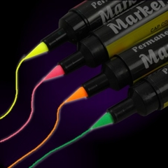 Black Light Reactive Neon Fabric Markers (Individual)