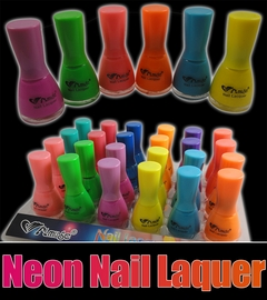 Black Light Reactive Neon Nail Lacquer (24 Pack Assorted)