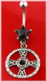 Black Star With Celtic Cross Navel Jewelry
