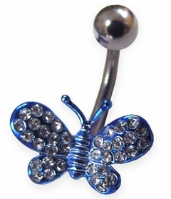 Blue Butterfly Navel Jewelry