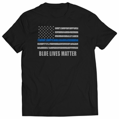 Blue Lives Matter Blue Line Flag Kids T-shirt