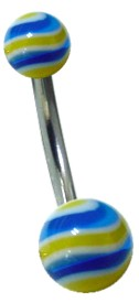 Blue & Yellow Swirl Navel Jewelry