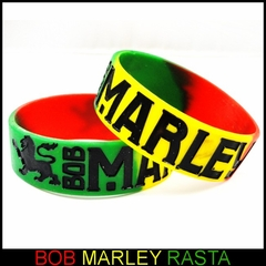 Bob Marley Designer Rubber Saying Bracelet (Rasta Color)