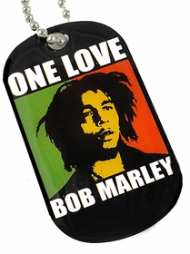 Bob Marley One Love Dog Tag  Necklace