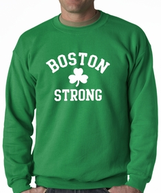 Boston Strong Irish Shamrock Adult Crewneck