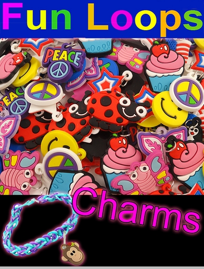 Bracelet Charms For Rainbow Loom Bracelets (Set Of 12)<!-- Click to Enlarge-->