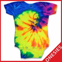 Bright Spiral Tie Dye Onesies For Infants
