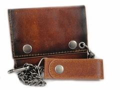 Brown Vintage Genuine Leather Chain Wallet