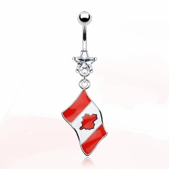 "Navel Body Jewelry - Canada ""Canadian Flag"" Belly Button Ring"