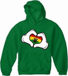 Cartoon Hands Rasta Colors Pot Adult Hoodie