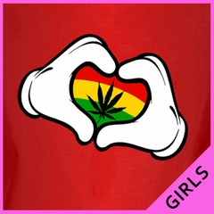 Cartoon Hands Rasta Colors Pot Girl's T-Shirt