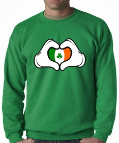 Cartoon Heart Hands Irish Flag Adult Crewneck