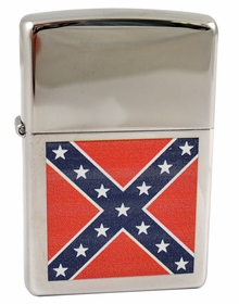 Chrome Confederate Flag Icon Zippo Lighter