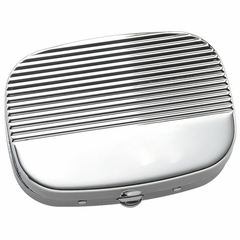 Chrome Ribbed Cover with 3 Compartment Pill Box & Mirror