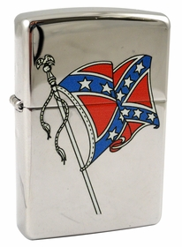 Chrome Waving Confederate Flag Zippo Lighter