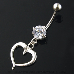 Navel Body Jewelry - Clear Stone w/ Dangling Heart Belly Button Ring