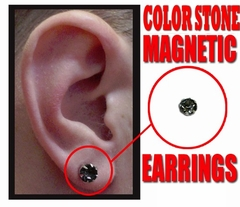 Color Stones Magnetic Earrings :: buy One Pair Get One FREE!