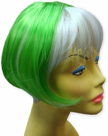 Colored Wigs :: Two Tone  Green & White Wig