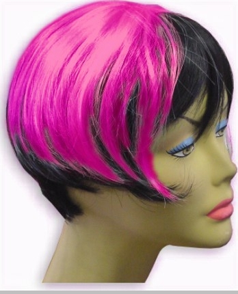 Black Hot Pink Wigs 63