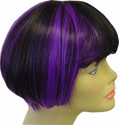 Colored Wigs - Two Tone Purple/Black Wig