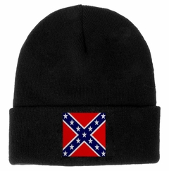 Black Knitted Beanie with Embroidered Rebel Confederate Flag