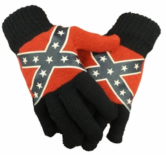 Confederate Rebel Flag Knit Gloves